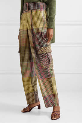 Rosie Assoulin Belted Houndstooth Wool Wide-leg Pants - Yellow