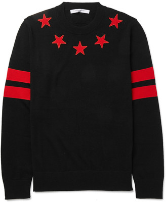 Givenchy Cuban-Fit Star-Appliquéd Wool Sweater $745 thestylecure.com
