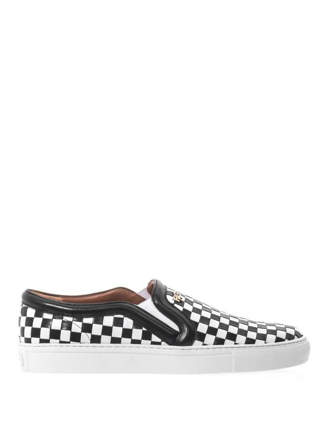 Givenchy Check woven leather trainers