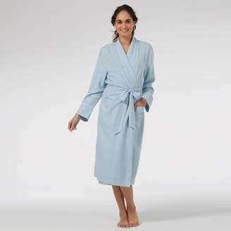 Caro London Dressing Gown In Baby Blue Brushed Twill