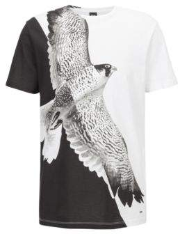 BOSS Hugo Relaxed-fit T-shirt in cotton statement bird print M White