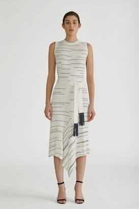 Yigal Azrouel Striped Rib Knit Asymmetric Dress