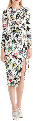 Jason Wu Drawstring-Sleeve Floral-Print Jersey Day Dress w\/ Slit