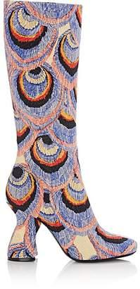 Dries Van Noten Women's Slanted-Heel Jacquard Knee Boots