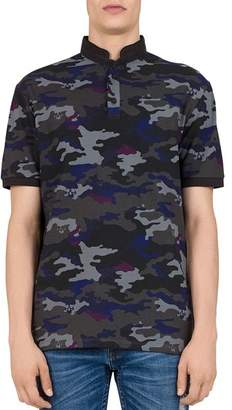 The Kooples Canouflage-Skull Print Regular Fit Polo Shirt