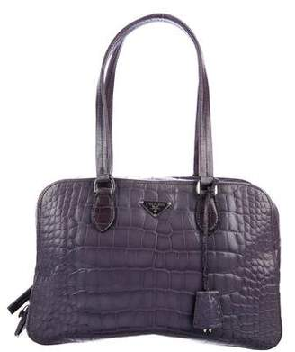 Prada Crocodile Zip Shoulder Bag