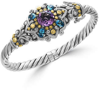 Effy Amethyst (3 ct. t.w.) and Blue Topaz (2-1/6 ct. t.w.) Bracelet in Sterling Silver and 18k Gold