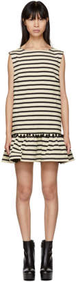 Marc Jacobs White and Black Striped Pom Pom Dress