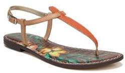 Sam Edelman Gigi Lizard Print Floral Leather Thong Sandals