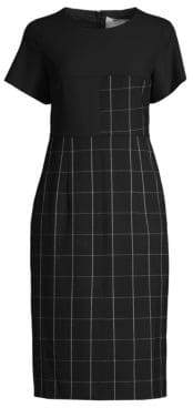BOSS Dedani Windowpane Check Sheath Dress