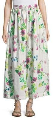 MDS Stripes Floral Button Front Skirt