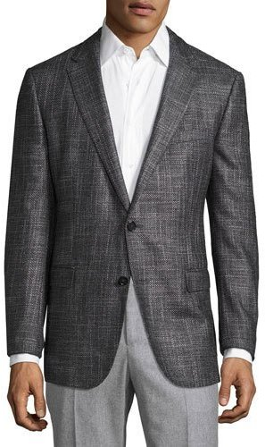 Hugo BossBoss Hugo Boss Nobis Oversized Melange Slim-Fit Sport Coat, Black/Gray