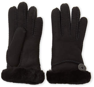 UGG Black Button Shearling-Lined Gloves