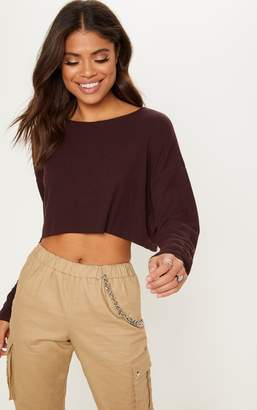 PrettyLittleThing Chocolate Long Sleeve Rib Crop Top