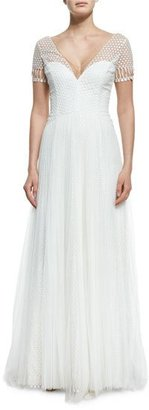 Notte by Marchesa Short-Sleeve V-Neck Netting Gown, Ivory $1,395 thestylecure.com