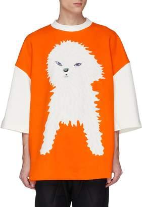 Pronounce Puppy print colourblock oversized T-shirt