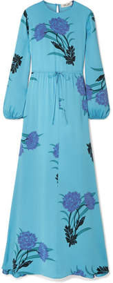 Diane von Furstenberg Floral-print Silk-blend Maxi Dress - Light blue