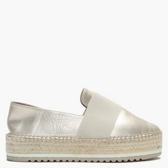 Gold Leather Elasticated Strap Espadrilles