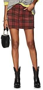R 13 Women's Plaid Denim High-Rise Miniskirt - Red