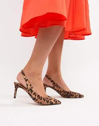 Sebastian Asos Design ASOS DESIGN Slingback Mid Heels in leopard print