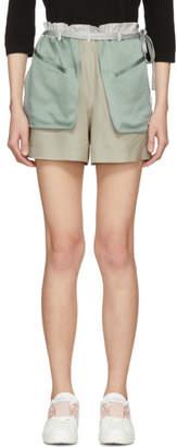 Valentino Grey and Green Silk Hammered Shorts