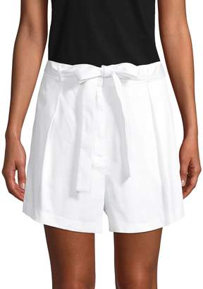 BCBGMAXAZRIA Pleated-Front Cotton Belted Shorts