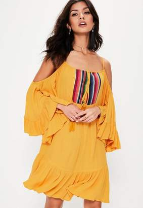 Missguided Yellow Cheesecloth Shoulder Swing Dress