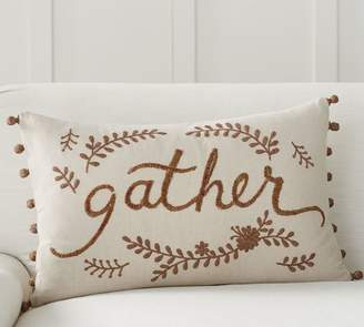 Pottery Barn Gather Embroidered Lumbar Pillow Cover