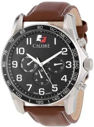 Buffalo David Bitton Calibre Men's SC-4B1-04-007.1 Round Stainless Steel 24-Hour Day Date Leather Band Watch