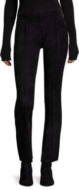 The Row Beca Suede Cropped Flared Pants