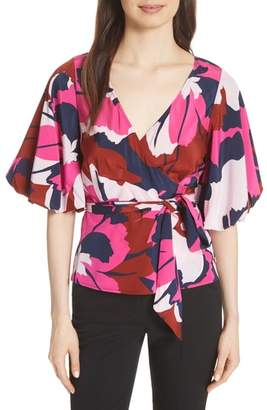Tracy Reese Stretch Silk Wrap Blouse