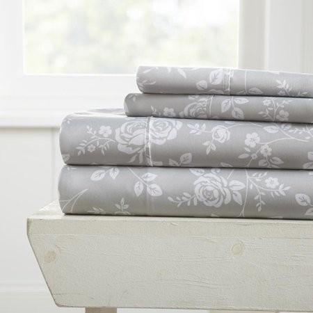 Noble Linens Premium Ultra Soft Rose Gray Pattern 4 Piece Bed Sheet Set