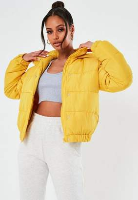 Missguided Yellow Hooded Puffer Jacket