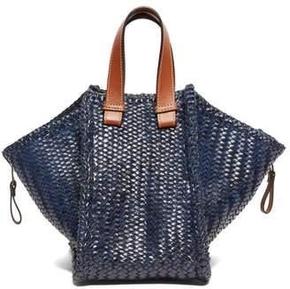 Loewe Hammock Small Woven Leather Tote Bag - Womens - Dark Blue