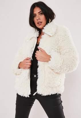 Missguided Plus Size White Boxy Oversized Borg Teddy Jacket