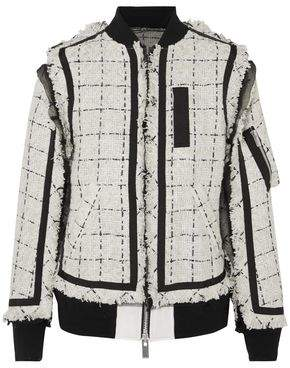 Sacai Oversized Grosgrain-Trimmed Tweed Bomber Jacket