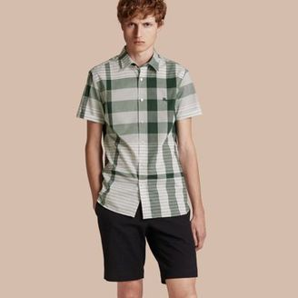 Burberry Short-sleeved Tonal Check Cotton Shirt $295 thestylecure.com