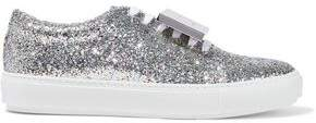 Acne Studios Adriana Spark Plaque-detailed Glittered Leather Sneakers