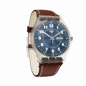 Swatch Unisex Vent Bralant 41mm Brown Leather Band Plastic Case Swiss Quartz Blue Dial Watch SUOK709