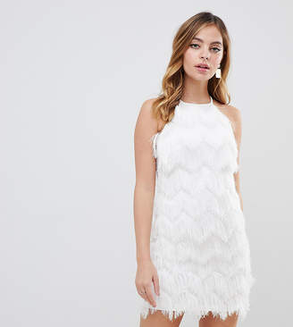 Miss Selfridge Petite feather dress in white