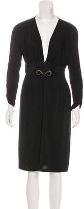 Just Cavalli Long Sleeve Midi Dress