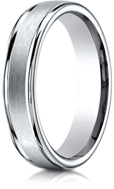 Benchmark 18K White Gold 4mm Comfort-Fit Round Edge Carved Design Band Ring