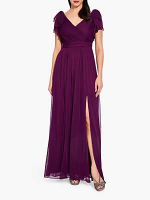 Adrianna Papell Bow Detail Drape Dress, Rich Raisin