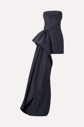 Reem Acra Asymmetric Draped Silk-faille Mini Dress - Navy