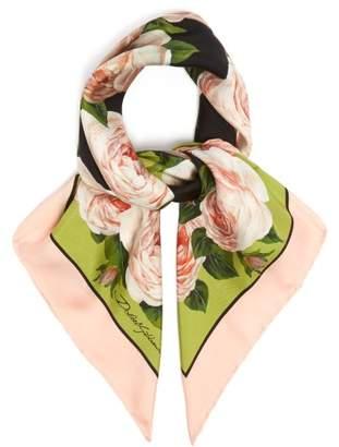 Dolce & Gabbana Rose Print Silk Twill Scarf - Womens - Green