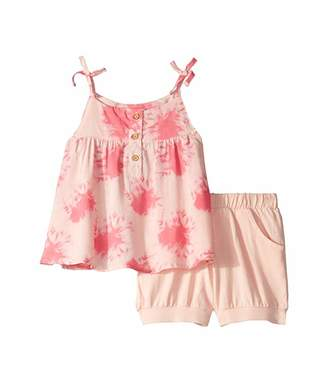 BCBGMAXAZRIA Girls Woven Print Top/Knit Ballon Shorts Set (Toddler)