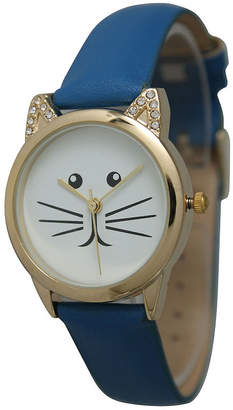 OLIVIA PRATT Olivia Pratt Womens Gold-Tone White With Black Cat Face Dial Royal Blue Leather Strap Watch 13586L