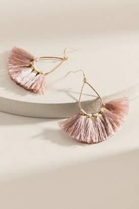 francesca's Danielle Mini Fanned Tassel Earrings - Mauve