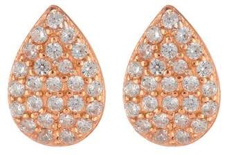 Argentovivo 18K Rose Gold Plated Sterling Silver CZ Pave Teardrop Earrings