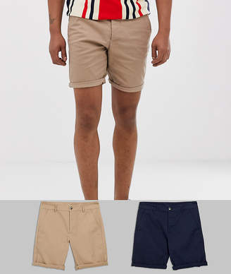 50295207c3 Asos Design DESIGN 2 pack skinny chino shorts in stone & navy save